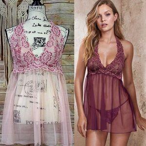 Victoria's Secret | Floral Halter Mesh Babydoll
